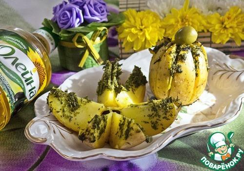 """Как готовить Картофельная """"лилия"""", запеченная с зеленым соусом простой рецепт с фото #10"""