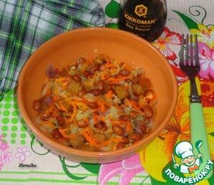 Постный салат с сухариками и фасолью домашний рецепт с фото готовим