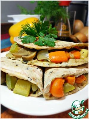 Рецепт Постные лепешки с диким рисом и запеченными овощами