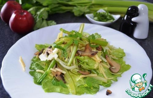 Тёплый салат с сельдереем и яблоком простой рецепт приготовления с фотографиями пошагово как приготовить #10