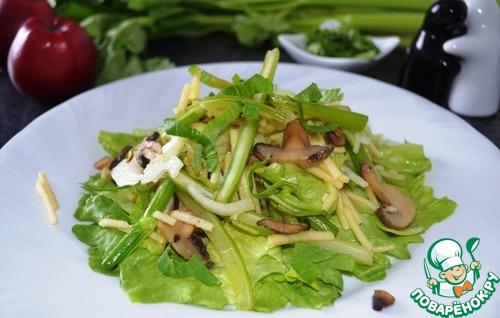 Тёплый салат с сельдереем и яблоком простой рецепт приготовления с фотографиями пошагово как приготовить #11