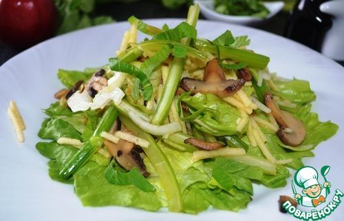 Тёплый салат с сельдереем и яблоком простой рецепт приготовления с фотографиями пошагово как приготовить #12
