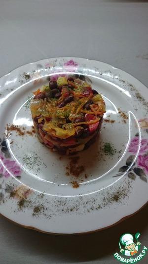 Как готовить Теплый салат из красной фасоли вкусный пошаговый рецепт приготовления с фотографиями