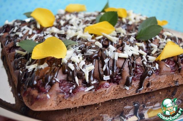 Как приготовить Шоколадно-вишнёвый пирог рецепт приготовления с фото пошагово #13