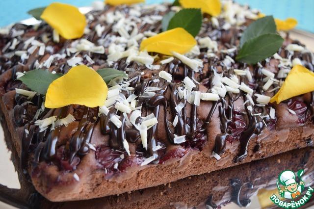 Как приготовить Шоколадно-вишнёвый пирог рецепт приготовления с фото пошагово #17