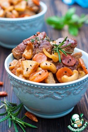 Свинина с кешью, ананасами и соевым соусом домашний пошаговый рецепт с фотографиями