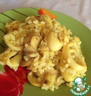 Как приготовить Рис с кальмарами и грибами простой рецепт с фото