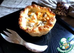 Рецепт Киш с мидиям, грибами и сыром