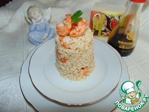 Рецепт Бурый рис с имбирными креветками