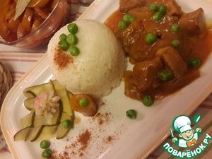 Рецепт Гуляш из телятины с карамельным луком и лечо