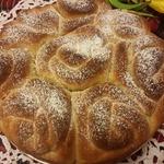 Постный карамельный булочный пирог Букет роз