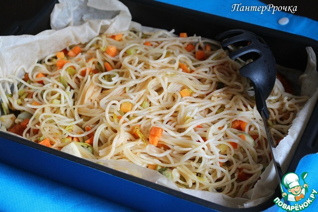 Как готовить Спагетти в пергаменте с овощами домашний рецепт с фотографиями пошагово #5