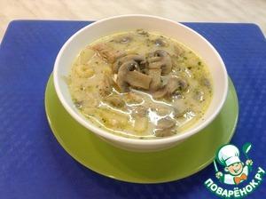 Рецепт Сырный суп с курицей и грибами