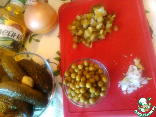 Салат из зеленого горошка и маринованных огурчиков вкусный рецепт приготовления с фотографиями пошагово как приготовить #2