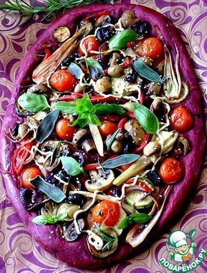 Пицца из свекольного теста с овощами и грибами простой рецепт с фото как готовить
