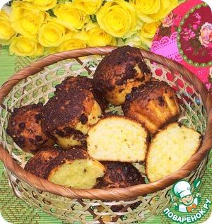 Рецепт Творожные кексы с шоколадно-миндальной посыпкой