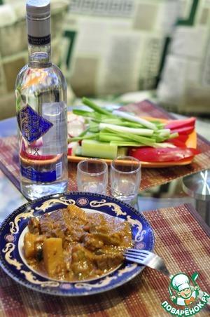 Рецепт Говядина тушёная в горшке