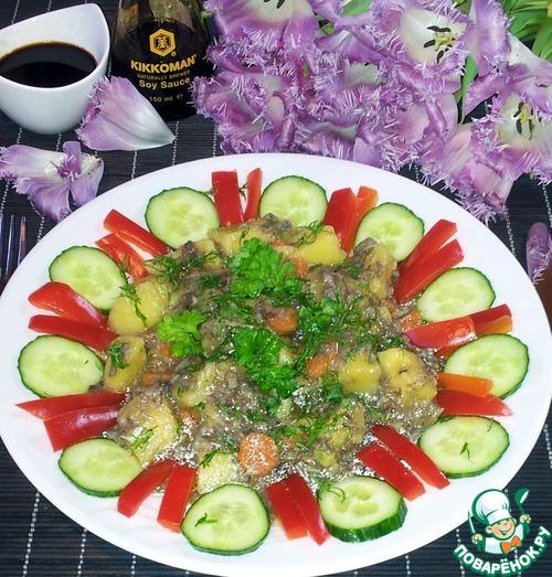 Готовим Грибы с картофелем в мультиварке простой рецепт с фотографиями пошагово #10