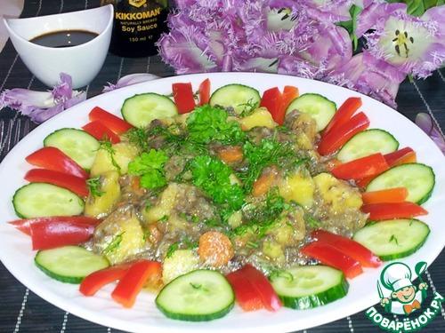 Готовим Грибы с картофелем в мультиварке простой рецепт с фотографиями пошагово #11