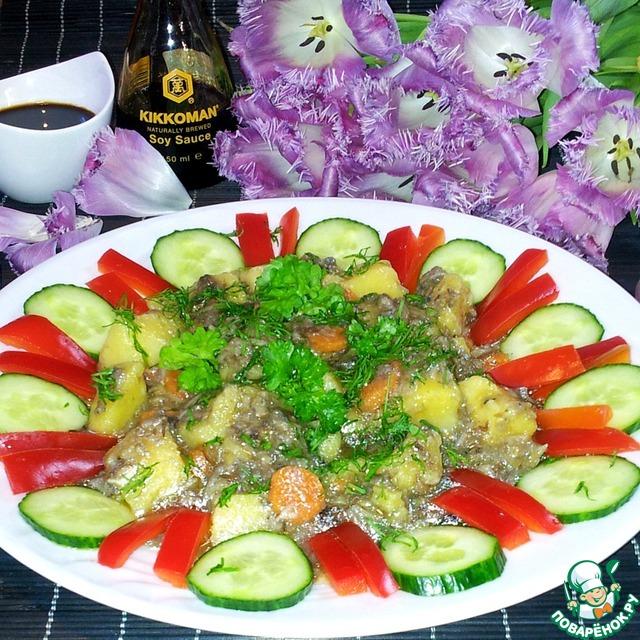 Готовим Грибы с картофелем в мультиварке простой рецепт с фотографиями пошагово #8