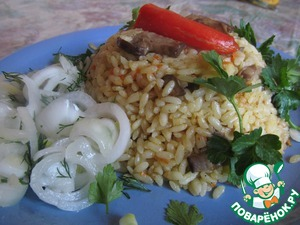 Рис с грибами и морковью рецепт 6