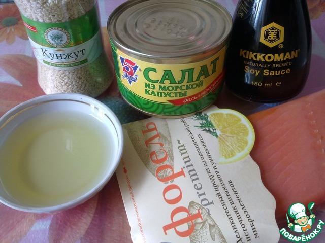 Как готовить Закуска из морской капусты с форелью рецепт с фото пошагово #1