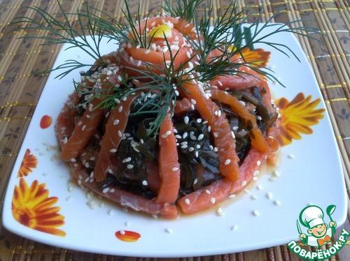 Как готовить Закуска из морской капусты с форелью рецепт с фото пошагово #8