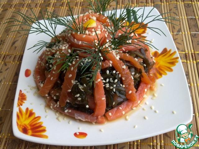 Как готовить Закуска из морской капусты с форелью рецепт с фото пошагово #6