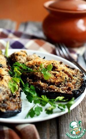 Фаршированные баклажаны под хрустящей хлебной корочкой рецепт приготовления с фотографиями пошагово готовим