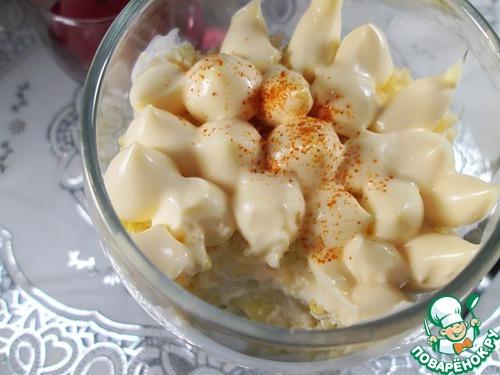 Готовим Салат с пшеном, курицей и яблоками вкусный пошаговый рецепт с фото #11