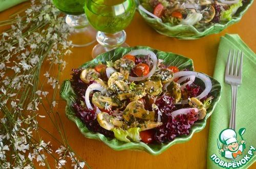 Готовим Салат со свежемаринованными грибами вкусный рецепт с фото пошагово #7