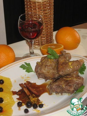 Рецепт Утка в апельсиновом соусе с корицей