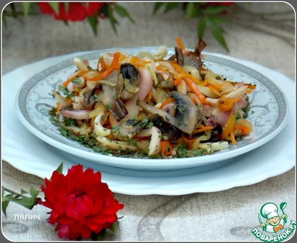 Теплый салат с кальмарами и грибами пошаговый рецепт с фото как приготовить #5