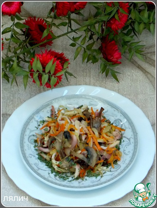 Теплый салат с кальмарами и грибами пошаговый рецепт с фото как приготовить #7