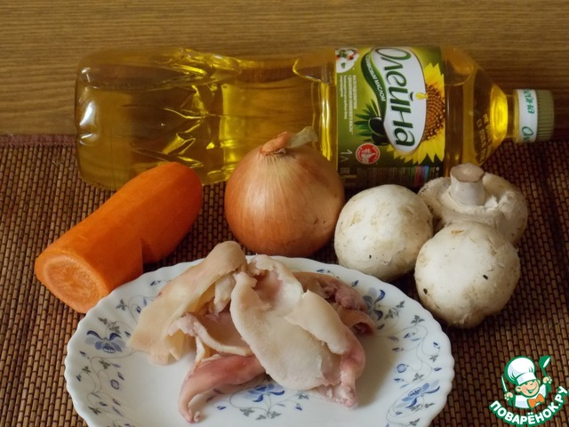 Теплый салат с кальмарами и грибами пошаговый рецепт с фото как приготовить #1