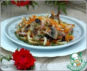 Рецепт Теплый салат с кальмарами и грибами