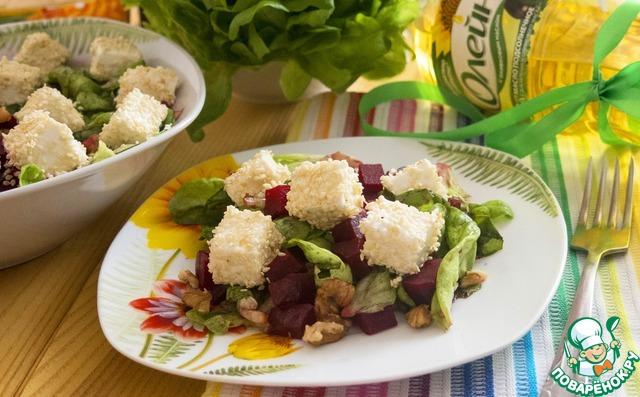 Салат из запеченной свеклы с брынзой простой рецепт с фото пошагово как приготовить #7