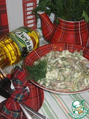 Рецепт Салат со свиными ушками и горчичной заправкой