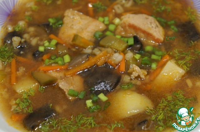 """Как готовить Рассольник со свининой """"Панский"""" простой рецепт приготовления с фото #12"""