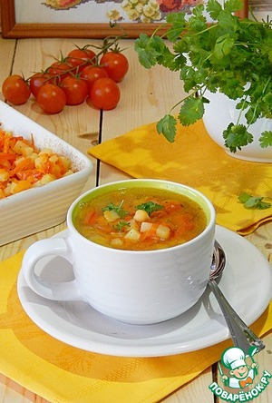 Рецепт Суп с печеными овощами и нутом
