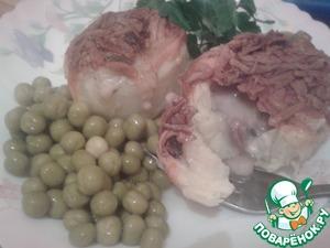 Рецепт Картофель фаршированный куриными сердечками