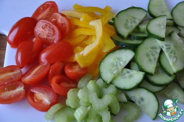 Готовим Салат с нутом, овощами и пряной заправкой вкусный рецепт с фото пошагово #5