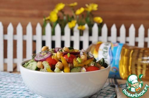 Готовим Салат с нутом, овощами и пряной заправкой вкусный рецепт с фото пошагово #9