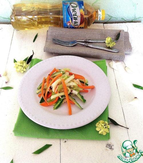"""Салат из свежих овощей """"Весенняя легкость"""" домашний рецепт с фото пошагово как приготовить #4"""
