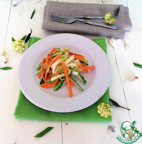 """Салат из свежих овощей """"Весенняя легкость"""" домашний рецепт с фото пошагово как приготовить #5"""