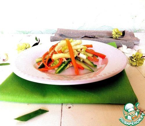 """Салат из свежих овощей """"Весенняя легкость"""" домашний рецепт с фото пошагово как приготовить #6"""