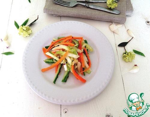 """Салат из свежих овощей """"Весенняя легкость"""" домашний рецепт с фото пошагово как приготовить #7"""