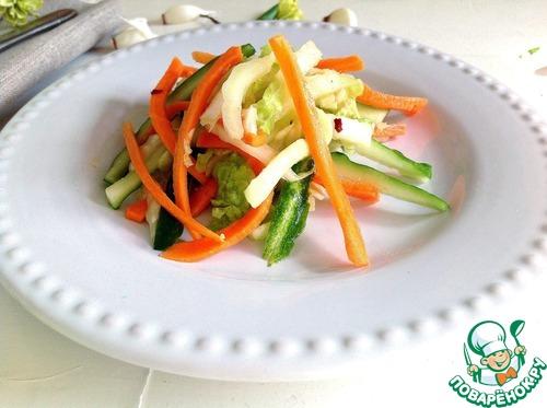 """Салат из свежих овощей """"Весенняя легкость"""" домашний рецепт с фото пошагово как приготовить #8"""