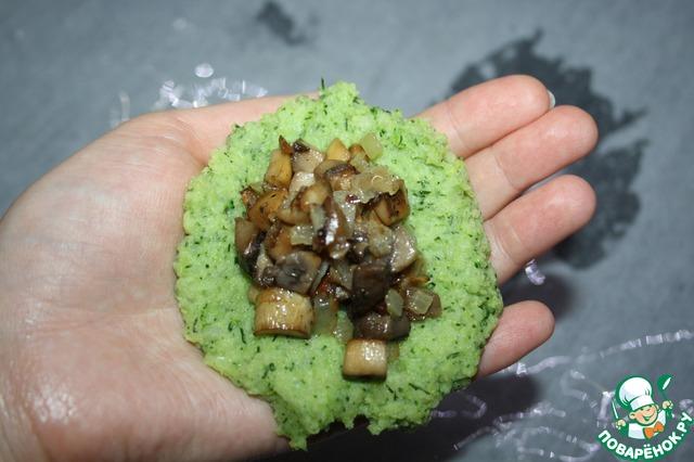 """Готовим """"Эскимо"""" с брокколи и грибами домашний пошаговый рецепт приготовления с фото #4"""