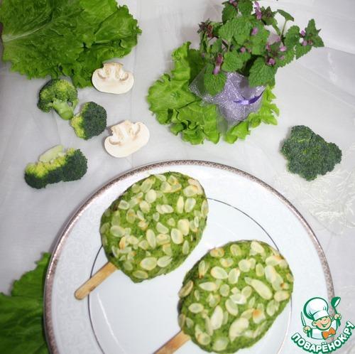 """Готовим """"Эскимо"""" с брокколи и грибами домашний пошаговый рецепт приготовления с фото #6"""